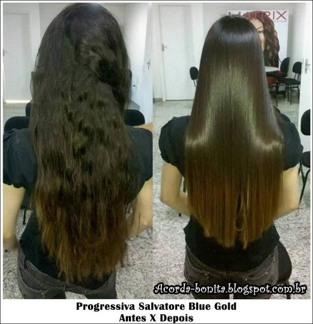 Antes Depois Progressiva salvatore blue gold cabelos castanhos