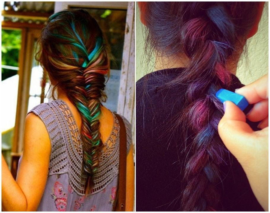 Hair Chalk – Como fazer mechas coloridas no cabelo com giz pastel penteado trança