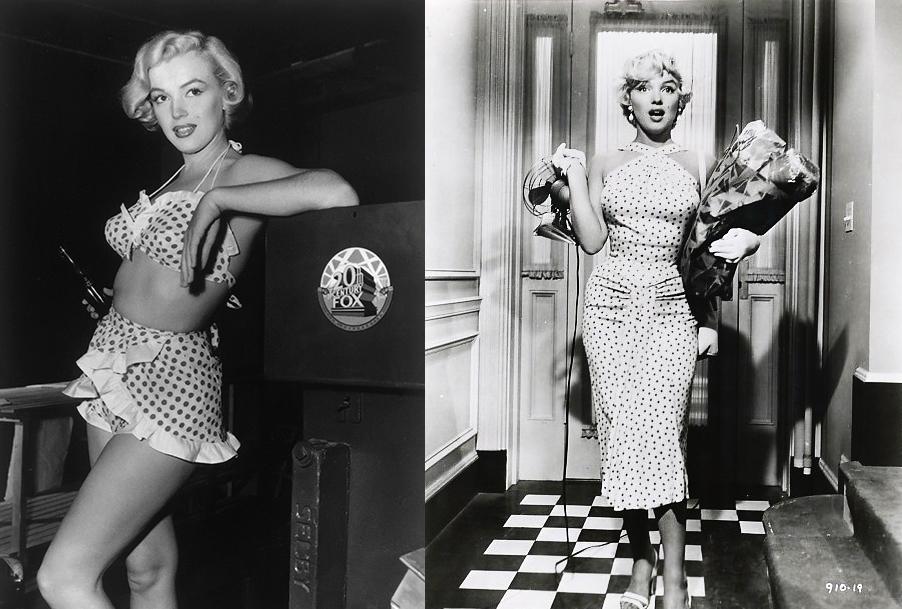 História da Moda Estampa de Bolinhas Poá Marilyn Monroe filme