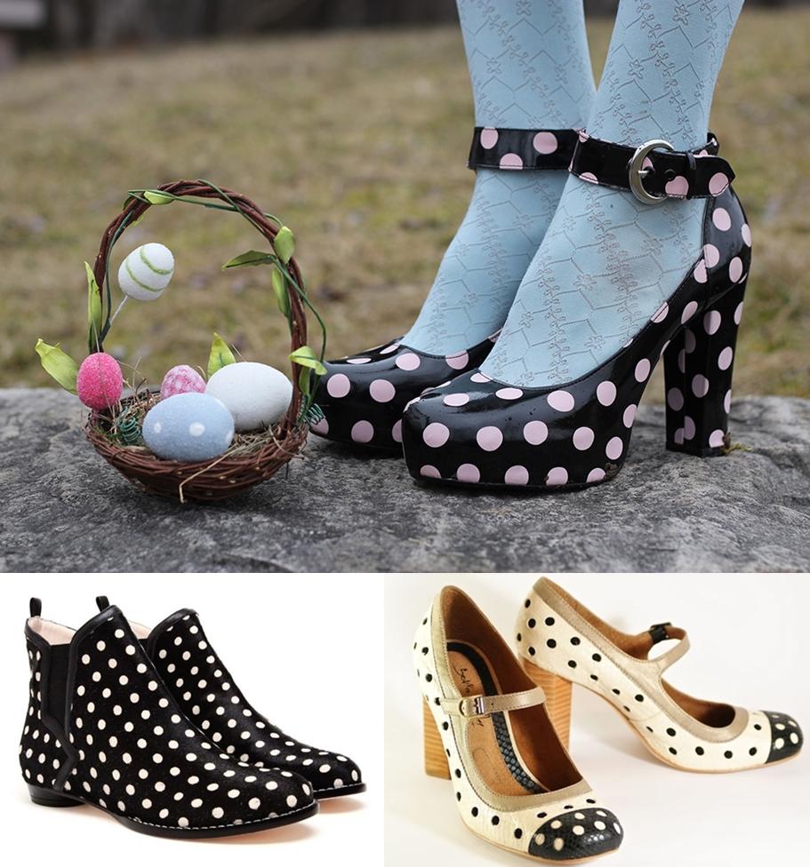História da Moda Estampa de Bolinhas sapatos de bolinha