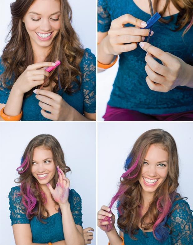 hair chalking mechas coloridas como fazer tutorial