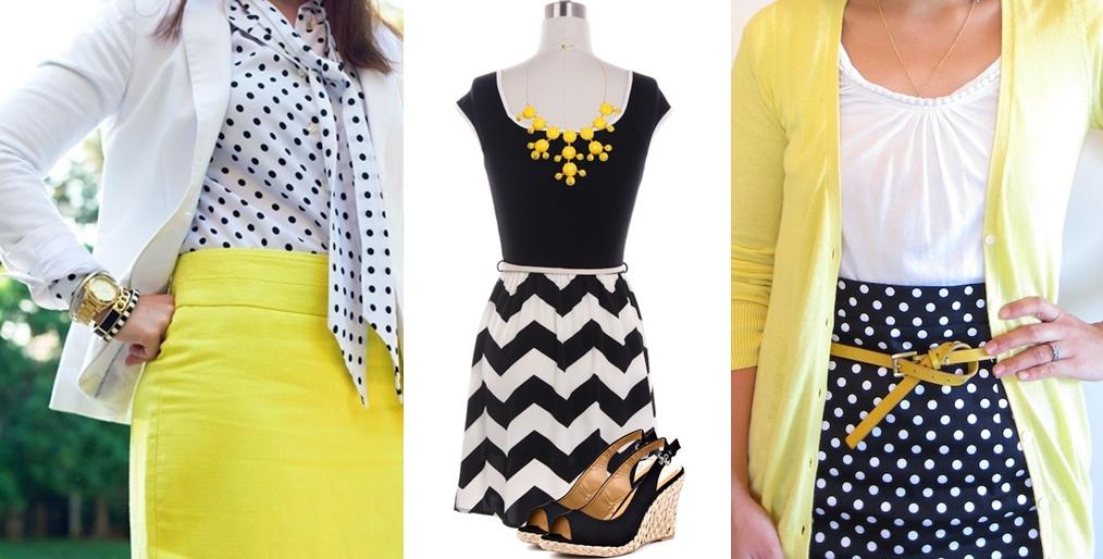 roupas preto branco e amarelo