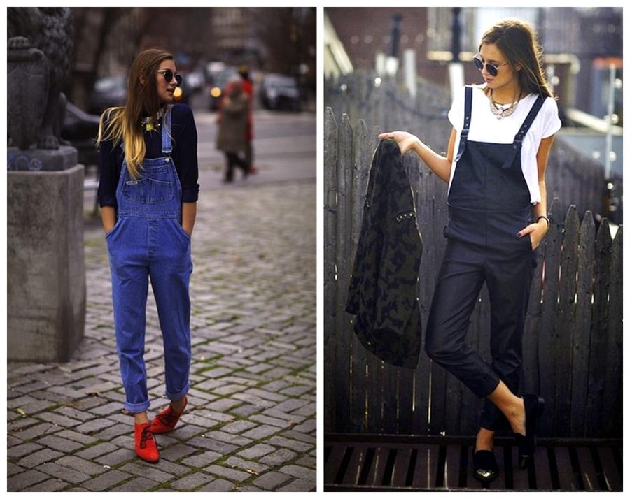 Macacões de jardineiras jeans  tendência verão 2014