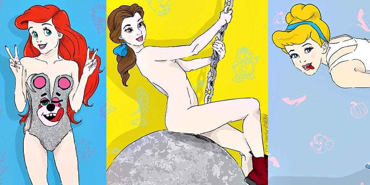Ilustrador cria versão hot e divertida das princesas da Disney imitando a Miley Cyrus