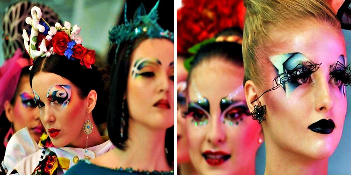 Penteados exóticos e maquiagem artística no festival de beleza de São Petersburgo