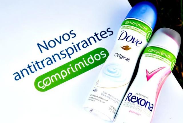 novos antitraspirantes comprimidos UNILEVER Dove e Rexona