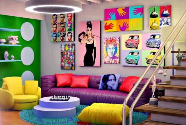 Dica de decoração barata para leigos móveis coloridos e quadros pop art