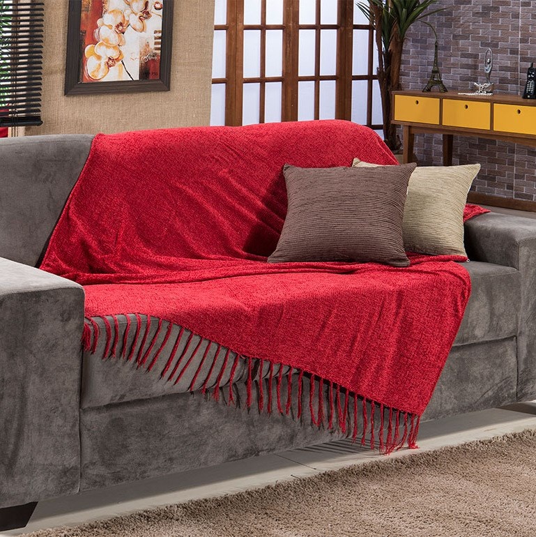 Dica de decoração barata para leigos manta vermelha sofá