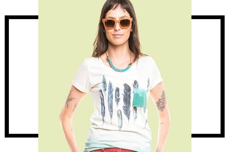 Tiê moda sustentável camiseta aldodão e PET reciclado